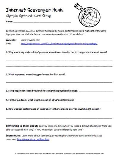 Worksheets Internet Scavenger Hunt Worksheet education world internet scavenger hunt olympic gymnast kerri strug click here pdf to download the document
