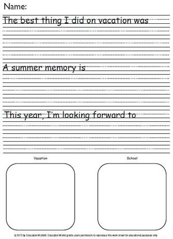 How I Spent My Summer Vacation Writing Template