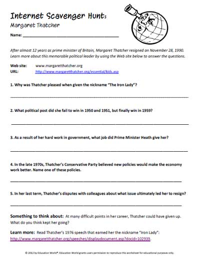 Printables Internet Scavenger Hunt Worksheet education world internet scavenger hunt margaret thatcher click here pdf to download the document