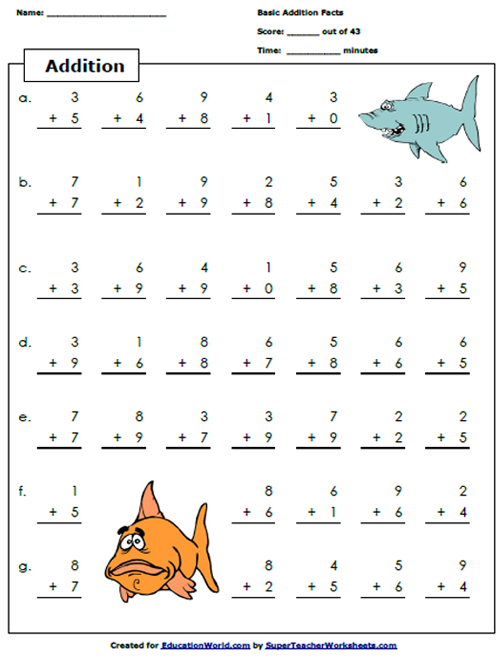 Fun Math Sheets Fish Www.robertdee.org