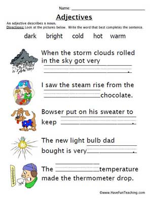 Adjective Worksheet Pdf