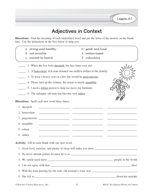 Adjectives in Context | Education World