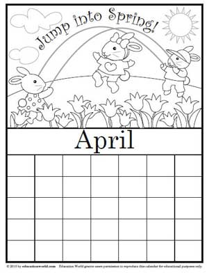 coloring calendar april version 2 education world