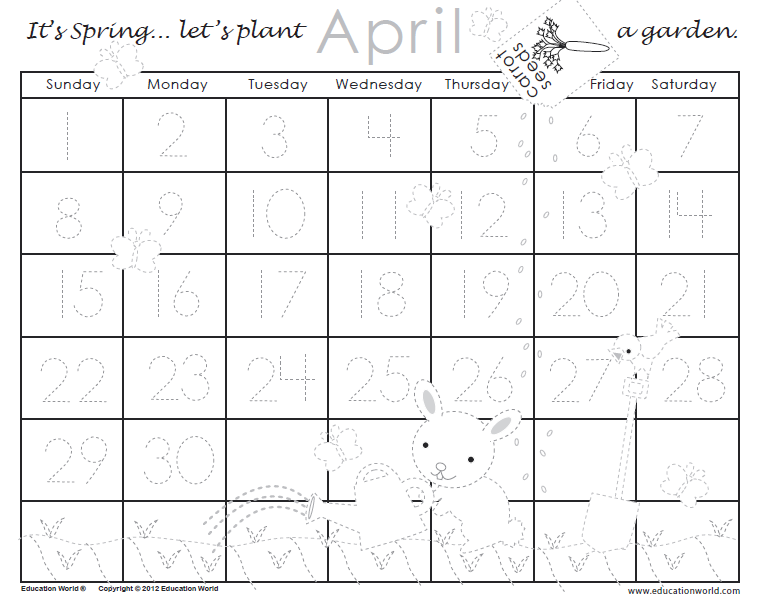 April Calendar Education World : April traceable calendar education world