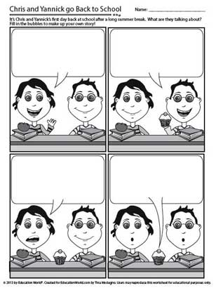 Back to school comic strip education world for Comic strip bubble template