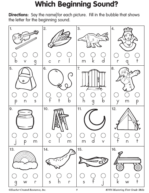 Teacher Created Resource: Which Beginning Sound? | Education World