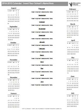 Education World: 2014-2015 School Year Calendar Template