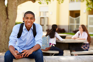 student with cell phone
