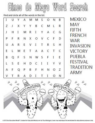 ... battle victory with this cute Cinco de Mayo word search template