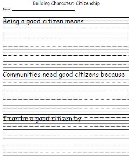 Character Development Template: Citizenship | Education World