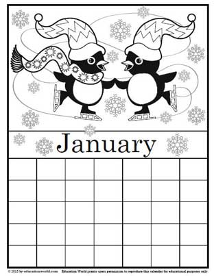 Coloring Calendar January - version 2 | Education World