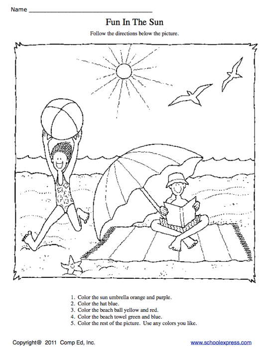 Education World: School Express Coloring Worksheet