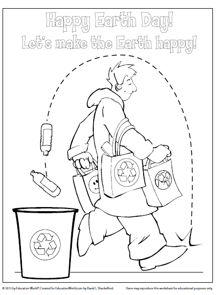 Education World: Coloring Sheet Template: Happy Earth Day