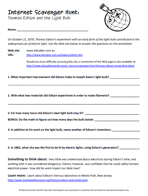 Worksheets Internet Scavenger Hunt Worksheet education world internet scavenger hunt thomas edisons light bulb click here edison pdf to download the document