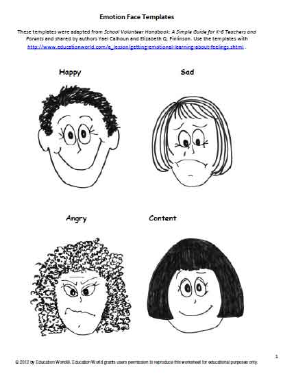 image relating to Emotion Faces Printable called Feeling Confront Templates Instruction Entire world