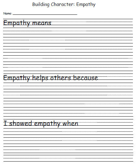 Character Development Template Empathy Education World