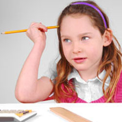 distracted girl with a pencil
