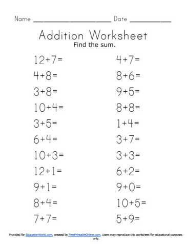 Horizontal Addition Worksheets & Free Worksheets Horizontal