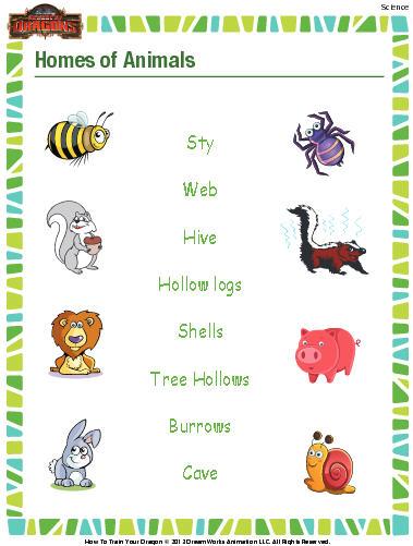 Animal Homes Worksheet - Download | Education World