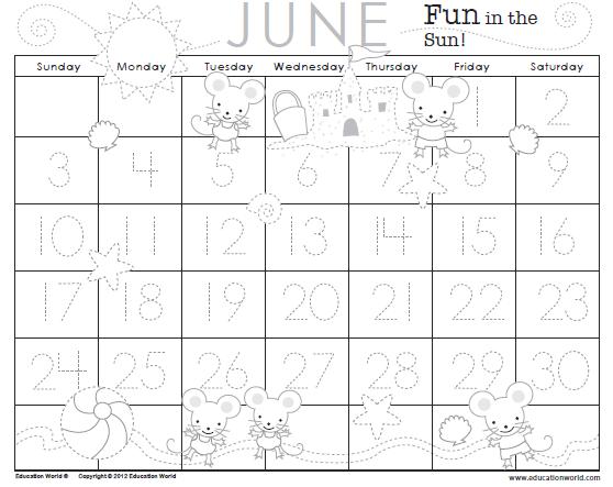 April Calendar Education World : Traceable calendar june education world