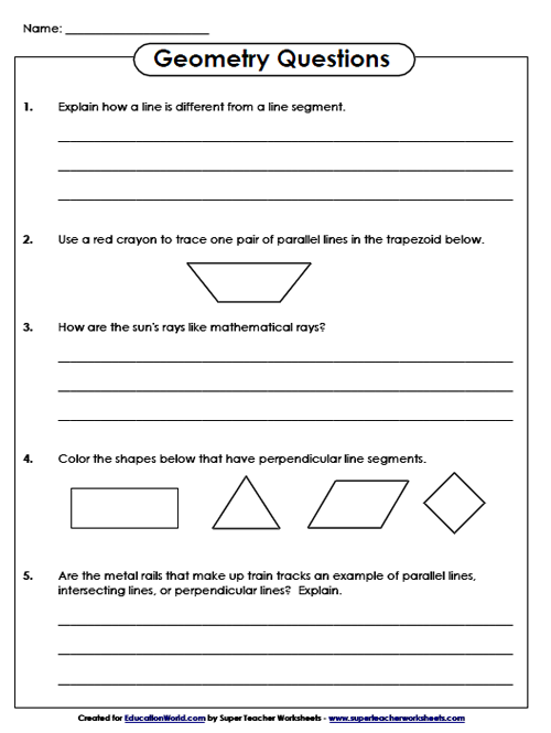 Super Teachers Geometry Questions Worksheet | Education World