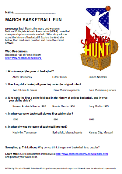 Internet Scavenger Hunt: NCAA Championships | Education World