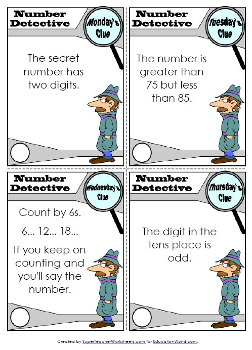 math worksheet : education world super teachers number detective worksheet : Teacher Worksheets Math