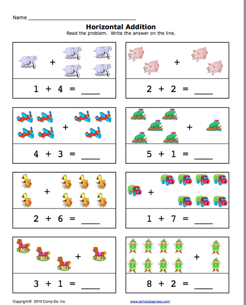 Education World School Express Horizontal Addition – Schoolexpress Math Worksheets