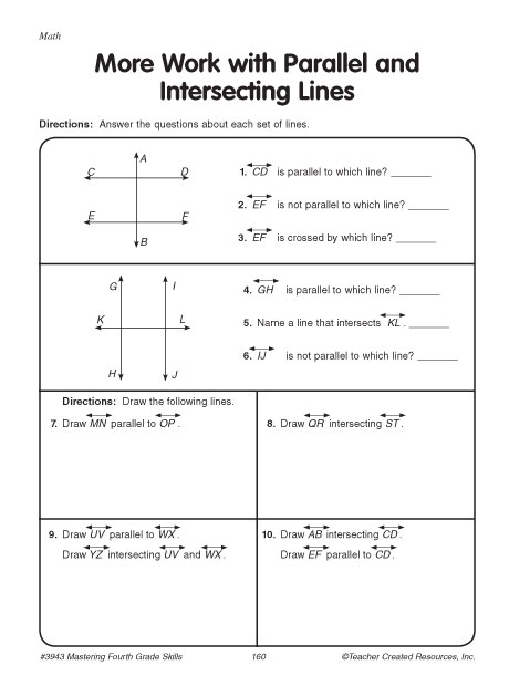 More Work With Intersecting And Parallel Lines Education World