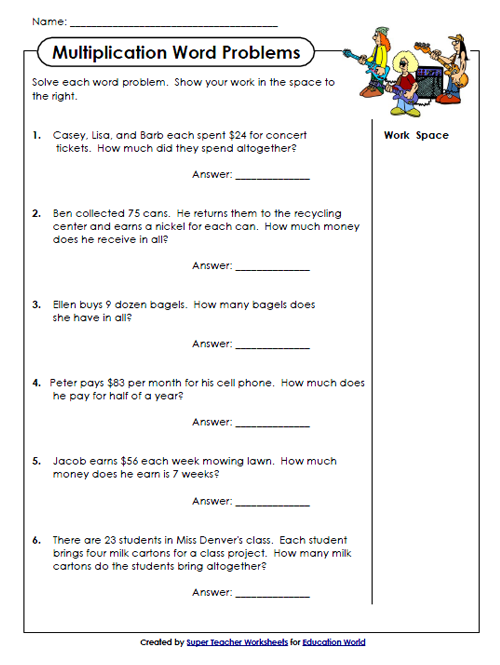 math worksheet : education world super teachers multiplication worksheet : Multiplication Word Problems Worksheets