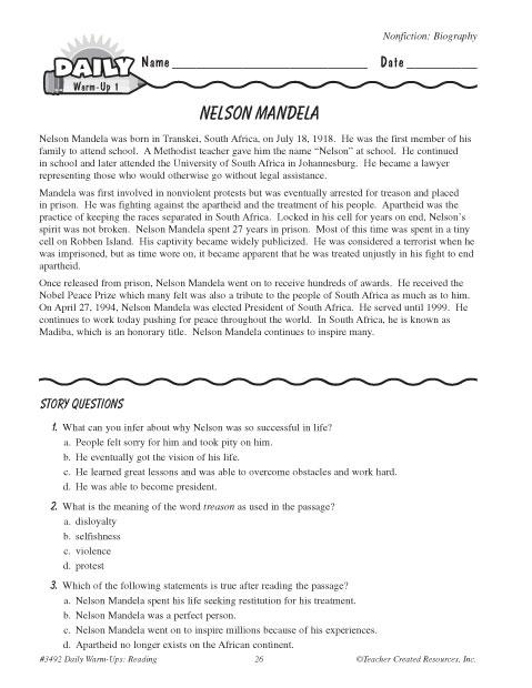 It is an image of Comprehensive Nelson Mandela Worksheets
