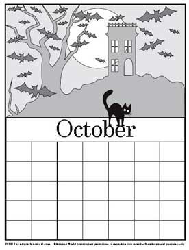 coloring calendar october version 2 education world