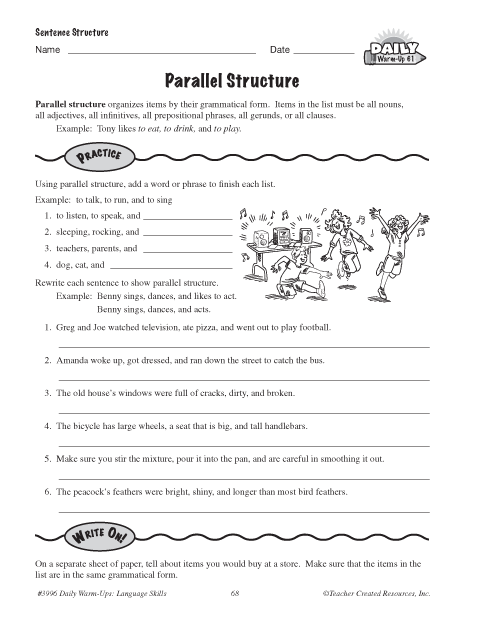 Printables Parallel Structure Worksheet education world parallel structure search form
