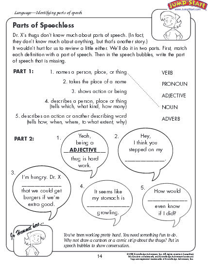 Printables Parts Of Speech Worksheets education world parts of speech worksheet download click here speechless pdf to the document
