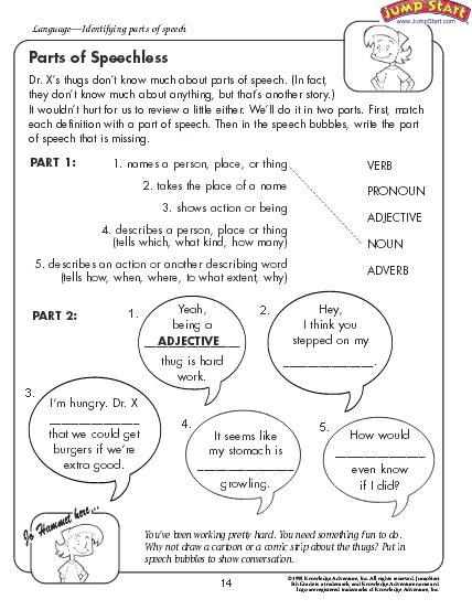 Parts of Speech Worksheet - Download | Education World