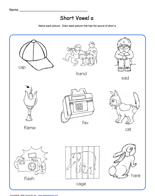 School Express Short Vowel Worksheet | Education World
