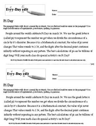 Every Day Edit Pi Day Printable Education World