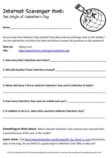 math worksheet : education world inter scavenger hunt valentine s day printable : Math Scavenger Hunt Worksheet