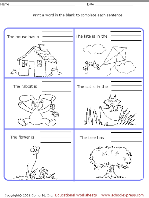 Education World School Express Sentence Worksheet – Complete Sentence Worksheet