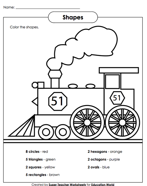 Education World Super Teacher Shapes Worksheet – Shape Worksheets for First Grade