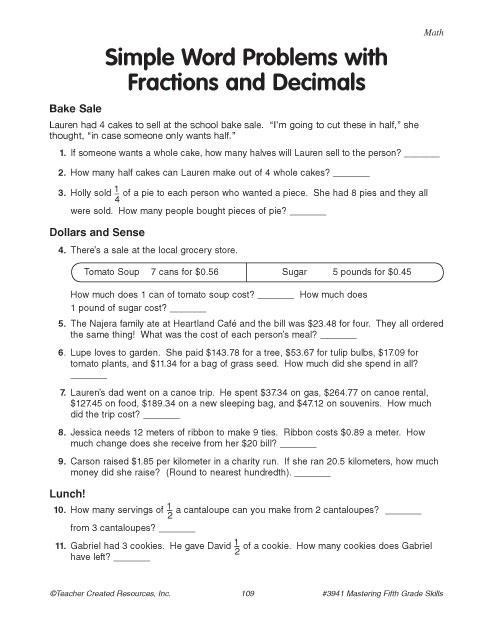 math worksheet : education world simple word problems with fractions and decimals : Word Problems With Fractions Worksheets