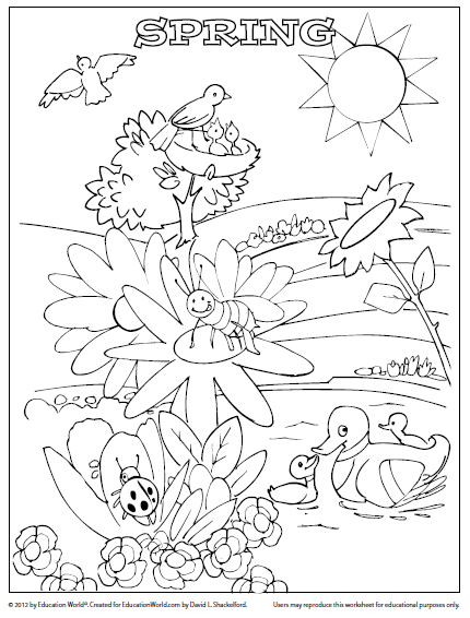 Coloring Sheet Template: Spring | Education World