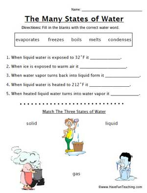 The States of Water Worksheet | Education World