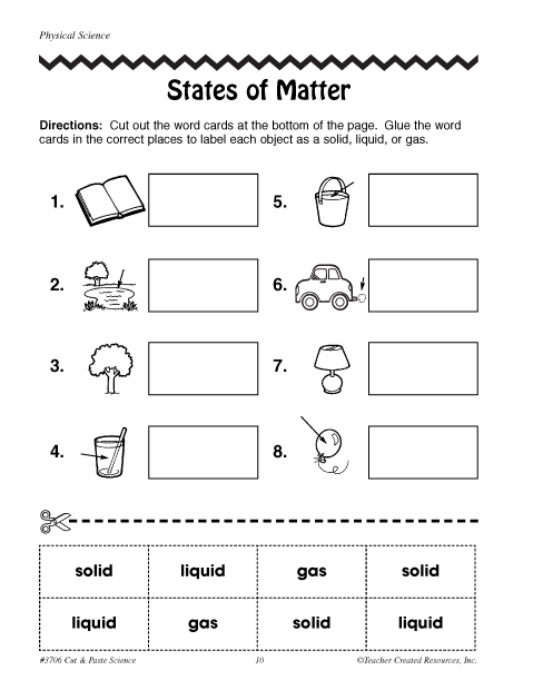 States Of Matter Kindergarten Worksheets
