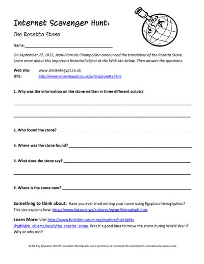 Worksheets Internet Scavenger Hunt Worksheet education world internet scavenger hunt the rosetta stone click here pdf to download document