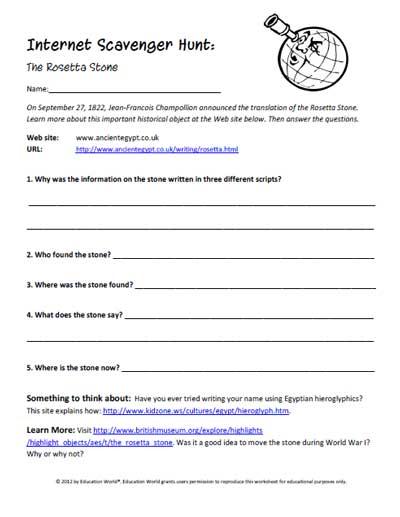 Worksheets Internet Scavenger Hunt Worksheet education world internet scavenger hunt the rosetta stone click here pdf to download document