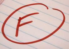 """An """"F"""" grade on notebook paper"""
