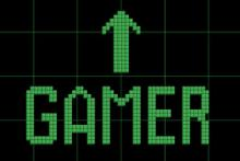The word gamer in pixels
