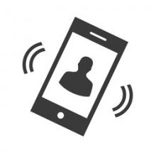 cell phone ringing with picture of person - illustration