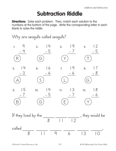 Worksheets Math Riddle Worksheets subtraction worksheets with riddles education world riddle